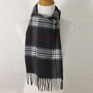 Vintage grey white red plaid scarf - flawless